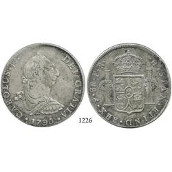 Potosí, Bolivia, bust 8 reales, Charles IV transitional (bust of Charles III, ordinal IV), 1790PR.