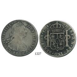 Potosí, Bolivia, bust 8 reales, Charles IV, 1806PJ.