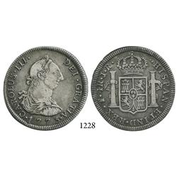 Potosí, Bolivia, bust 4 reales, Charles III, 1773JR, wide date.