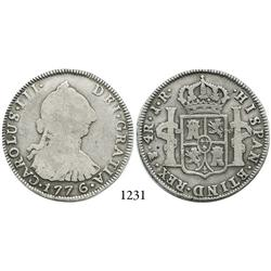 Potosí, Bolivia, bust 4 reales, Charles III, 1776JR, desirable date.