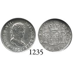 Potosí, Bolivia, bust 1/2 real, Ferdinand VII, 1821PJ, encapsulated NGC MS-64.