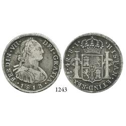 Santiago, Chile, bust 4 reales, Ferdinand VII, 1813FJ.