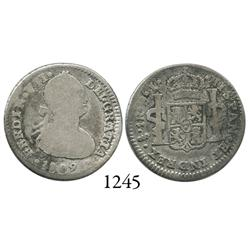Santiago, Chile, bust 1 real, Ferdinand VII transitional (bust of Charles IV, FERDIN/CAROLVS), 1809/