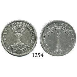 "Santiago, Chile, ""volcano"" 1 real, 1834IJ."