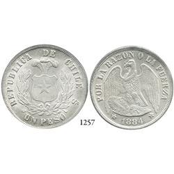 Santiago, Chile, peso, 1884.