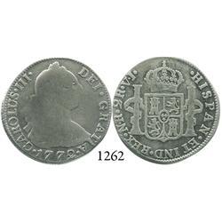 Bogotá, Colombia, 2 reales, Charles III, 1772VJ (mintmark N•R, assayer V•J).