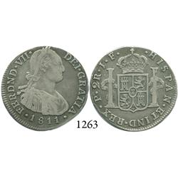 Popayán, Colombia, bust 2 reales, Ferdinand VII (bust of Charles IV), 1811JF.