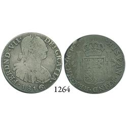 Bogotá, Colombia, bust 2 reales, Ferdinand VII (bust of Charles IV), 1816FJ.