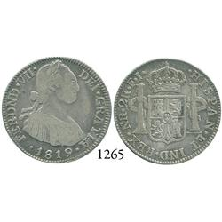 Bogotá, Colombia, 2 reales, Ferdinand VII (bust of Charles IV), 1819FJ (wide date).