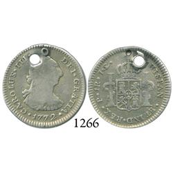 Popayán, Colombia, bust 1 real, Charles III, 1772JS, rare.