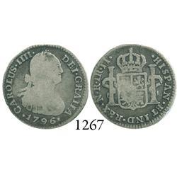 Bogotá, Colombia, bust 1 real, Charles IV, 1796JJ.