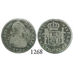 Bogotá, Colombia, bust 1 real, Charles IV, 1798JJ.