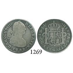 Bogotá, Colombia, bust 1 real, Charles IV, 1802JJ.