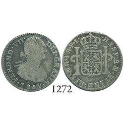 Bogotá, Colombia, bust 1 real, Ferdinand VII, 1819FJ, inverted J.