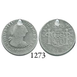 Popayán, Colombia, bust 1/2 real, Charles III, 1774JS, rare.