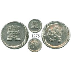 Bogotá, Colombia, 1/4 real, Charles III or IV, no date or mintmark or assayer (1770-95), pillar 8R c