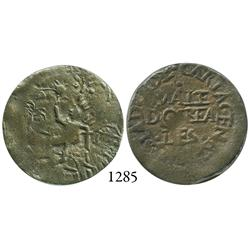 Cartagena, Colombia, copper 2 reales, 1814, rare.