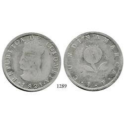 Bogotá, Colombia, 8 reales, 1821JF, no Ba, scarce.
