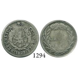 Bogotá, Colombia, 1 real, 1827R(R).