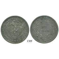 Bogotá, Colombia, 1 peso, 1857.