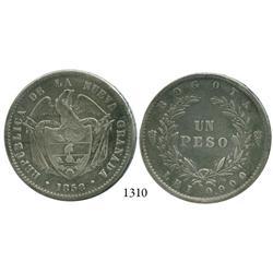 Bogotá, Colombia, 1 peso, 1858.