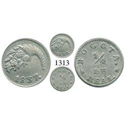 Bogotá, Colombia, 1/4 real, 1837, dot after Bogotá.