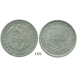 Bogotá, Colombia, 1 peso, 1859.