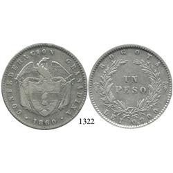 Bogotá, Colombia, 1 peso, 1860.
