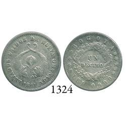 Bogotá, Colombia, 1 décimo, 1861.