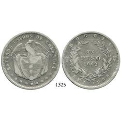 Bogotá, Colombia, 1 peso, 1862.