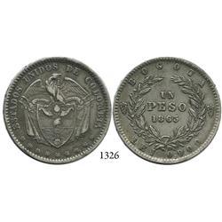 Bogotá, Colombia, 1 peso, 1863.