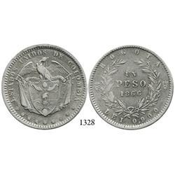 Bogotá, Colombia, 1 peso, 1866.