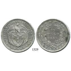 Bogotá, Colombia, 1 peso, 1867.