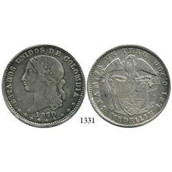 Medellín, Colombia, 1 peso, 1870.