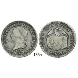 Bogotá, Colombia, 5 décimos, 1868.