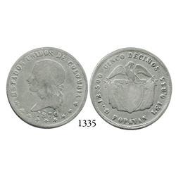 Popayán, Colombia, 5 décimos, 1870, rare.