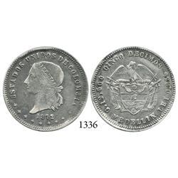Medellín, Colombia, 5 décimos, 1872.