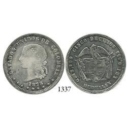 Medellín, Colombia, 5 décimos, 1873, dot in D of ESTADOS.