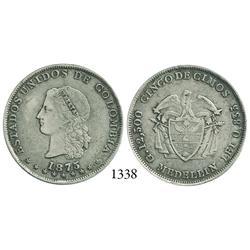 Medellín, Colombia, 5 décimos, 1875, B in O of ESTADOS.