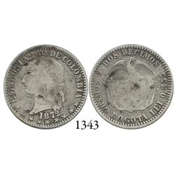 Bogotá, Colombia, 2 décimos, 1872.