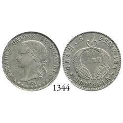 Medellín, Colombia, 20 centavos, 1874.