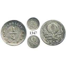 Medellín, Colombia, 1/4 décimo, 1874, N/N in Medellín, 4/4 in denomination.