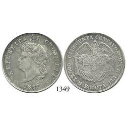 """Bogotá, Colombia, 50 centavos, 1887, """"Cocobola,"""" 2/2 in 12,500."""