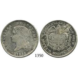 Bogotá, Colombia, 50 centavos, 1888.