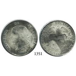 Medellín, Colombia, 5 décimos, 1888, rare.
