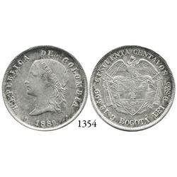 Bogotá, Colombia, 50 centavos, 1889, ball-tip 9.