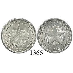 """Cuba, """"star"""" 10 centavos, 1915."""