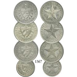 "Mixed lot of 4 Cuba ""star"" minors: 20 centavos (3) dated 1920, 1932 and 1948; and 10 centavos dated"