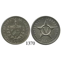 Cuba, brass 5 centavos, 1943.