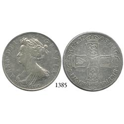 London, England, half crown, Anne, with VIGO below bust, 1703.